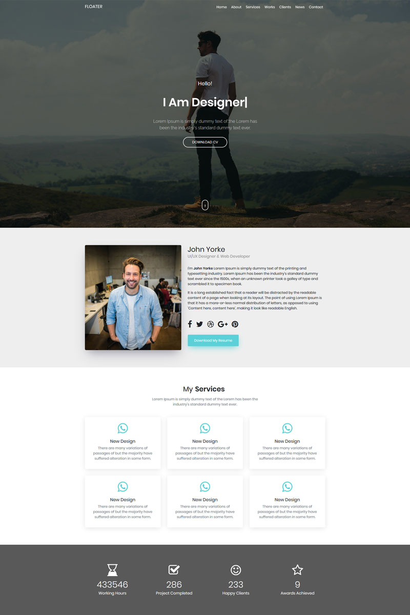 Floater Landing Page Template