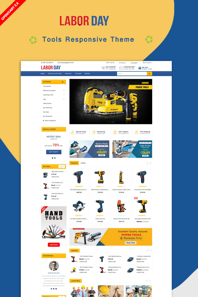 Labour Powertool Theme OpenCart Template