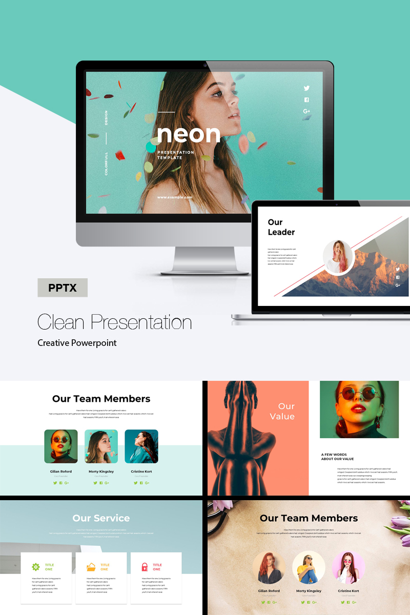 Minimal Neon Colorful PowerPoint Template