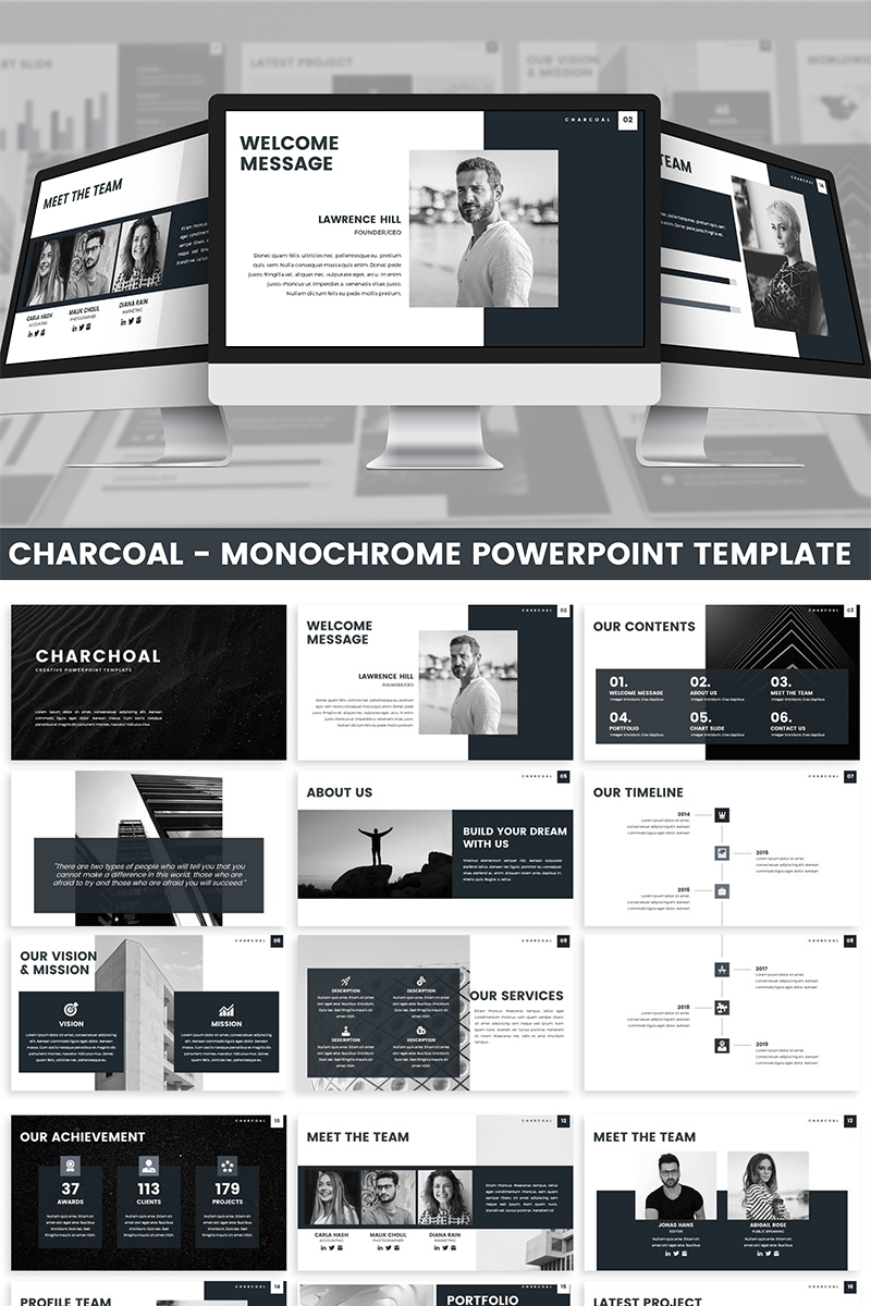 Charcoal - Monochrome PowerPoint Template