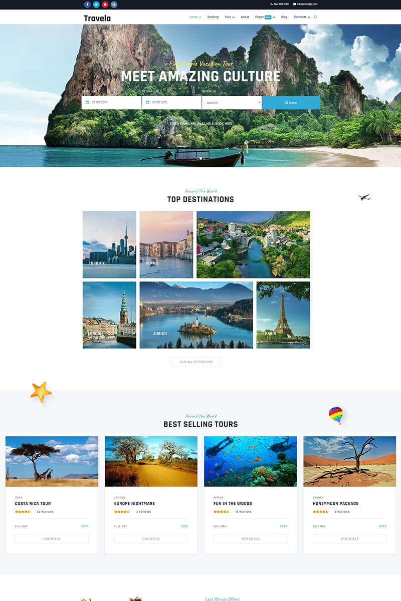 Travela - Travel and Tourism Joomla Template