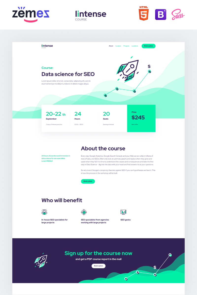 Lintense Course - Education Clean HTML Landing Page Template
