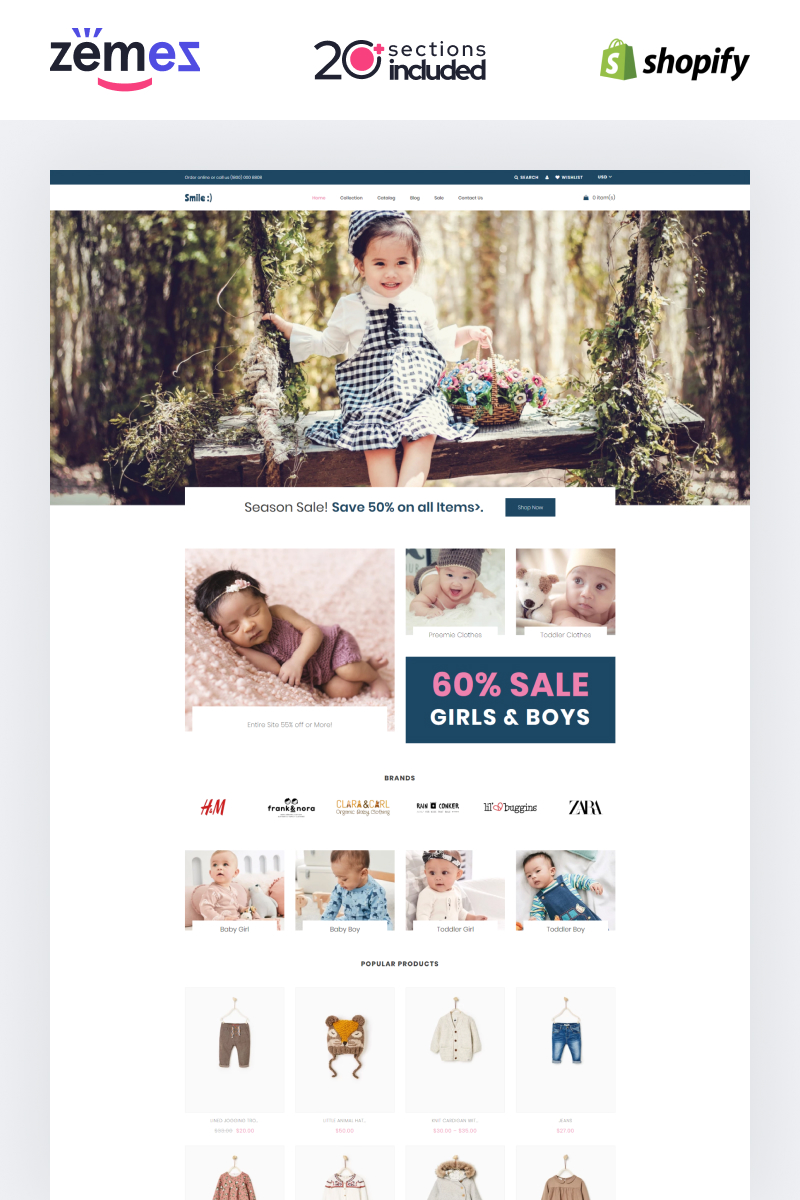 Smile - Simple Baby Clothing Store Shopify Theme