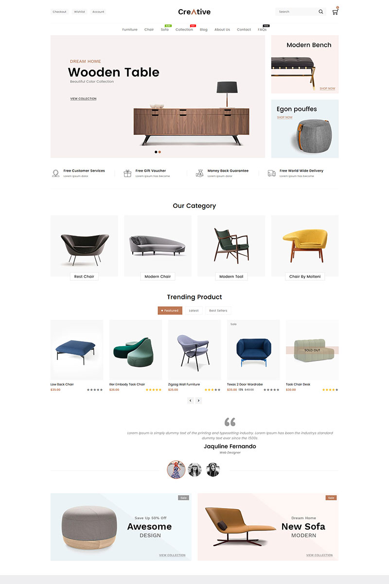 Creative Wood And Furniture Store Shopify Theme