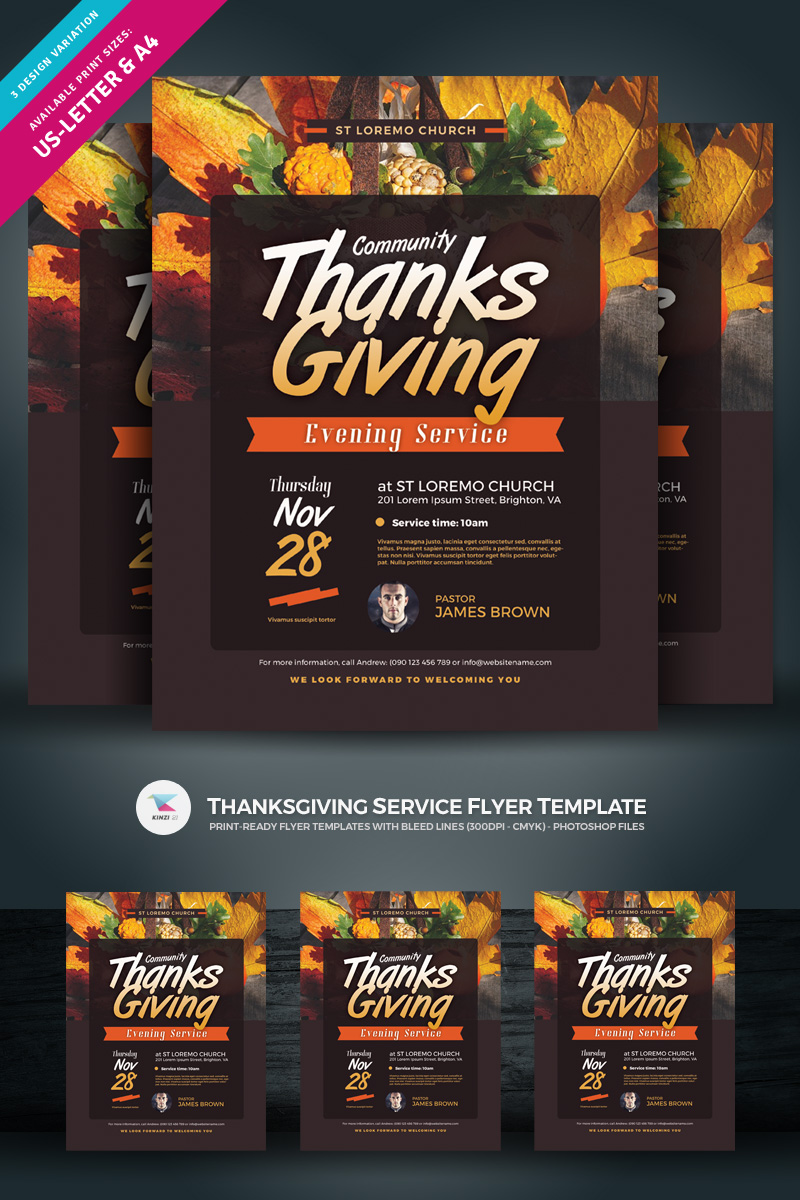 Thanksgiving Service Flyer Template