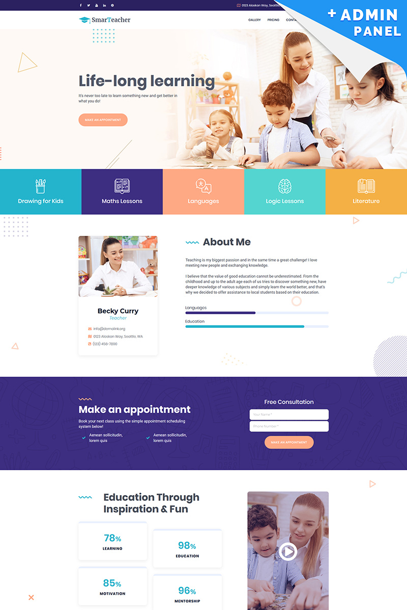 Smart Teacher Landing Page Template