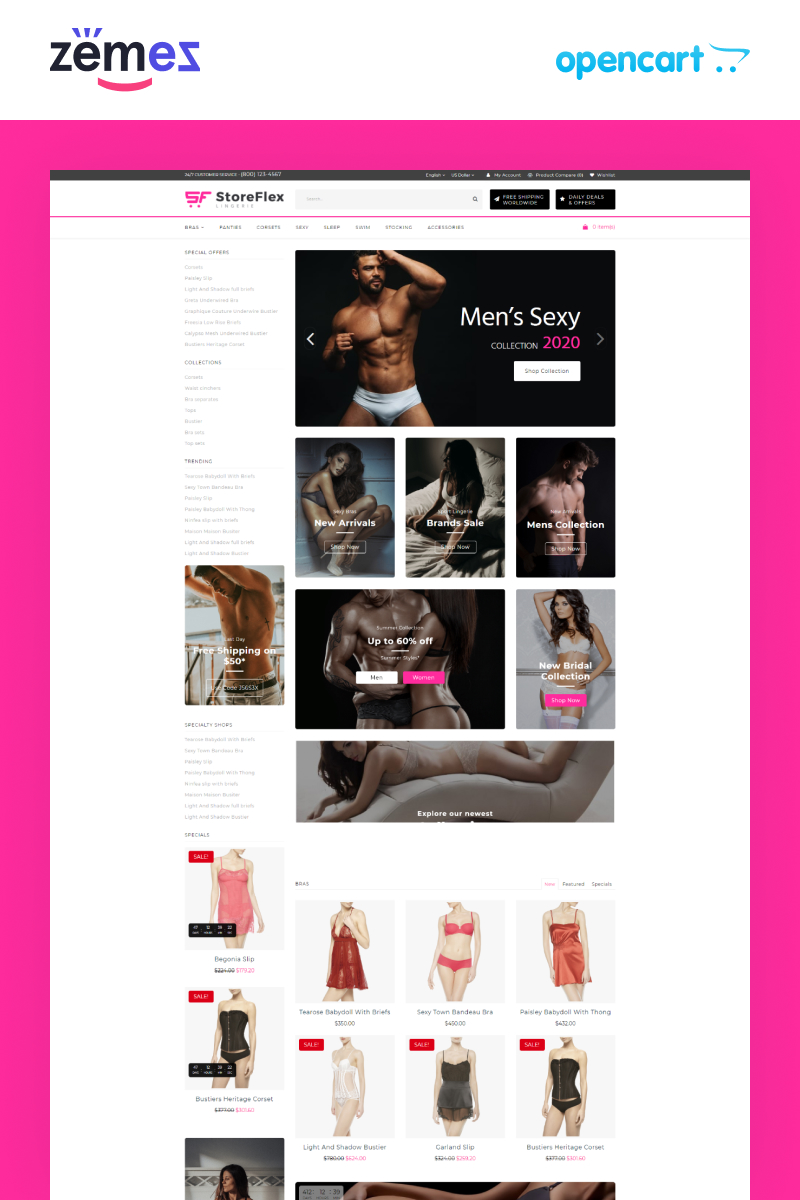 StoreFlex Lingerie Website Template for Underwear Shop OpenCart Template