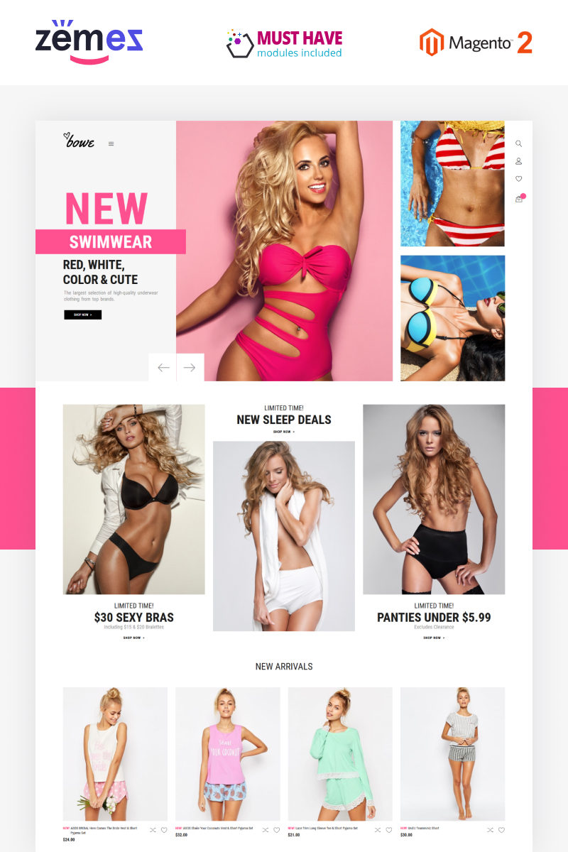 Bowitus - Lingerie Shop Website Magento Theme