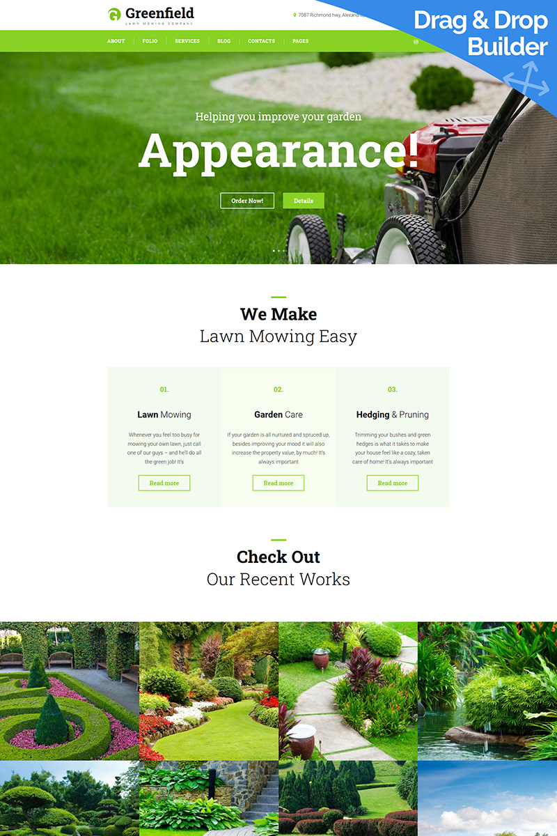 GreenField - Lawn Mowing Moto CMS 3 Template