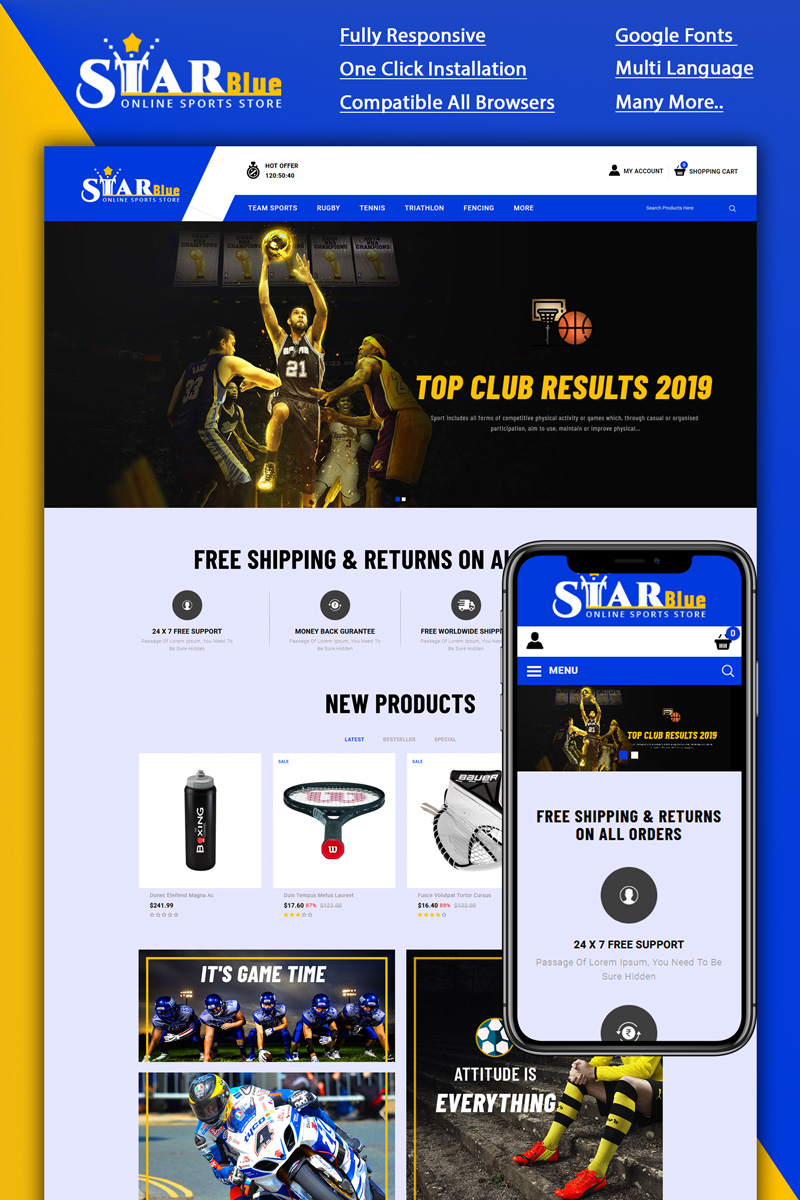 Starblue - Online Sports Store OpenCart Template