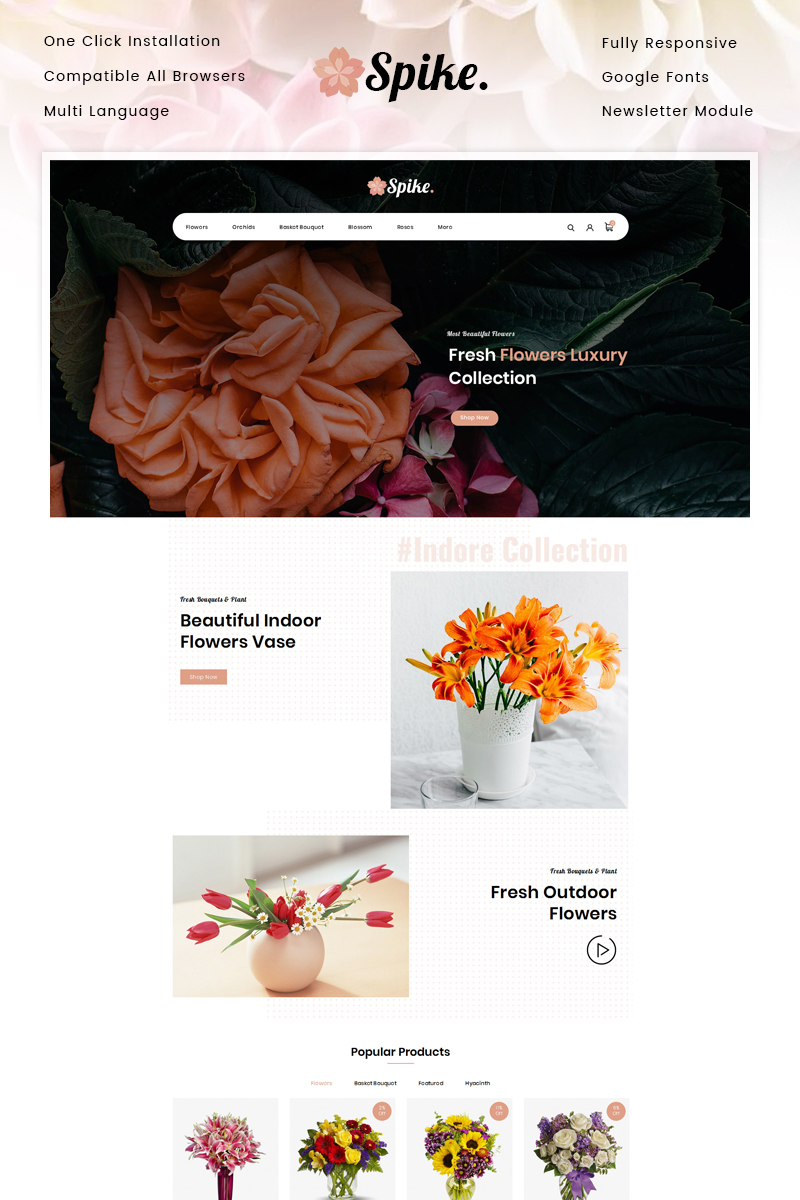 Spike - Fresh Flowers Store OpenCart Template