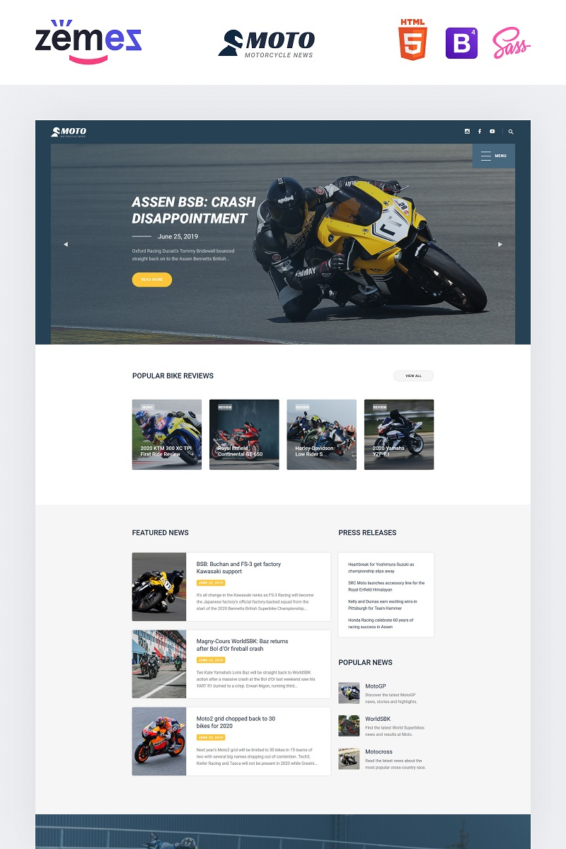 MOTO - Motorcycle Sports Website Template