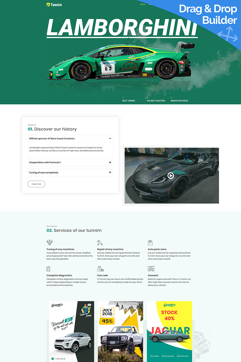Tunnim - Car Tuning Moto CMS 3 Template