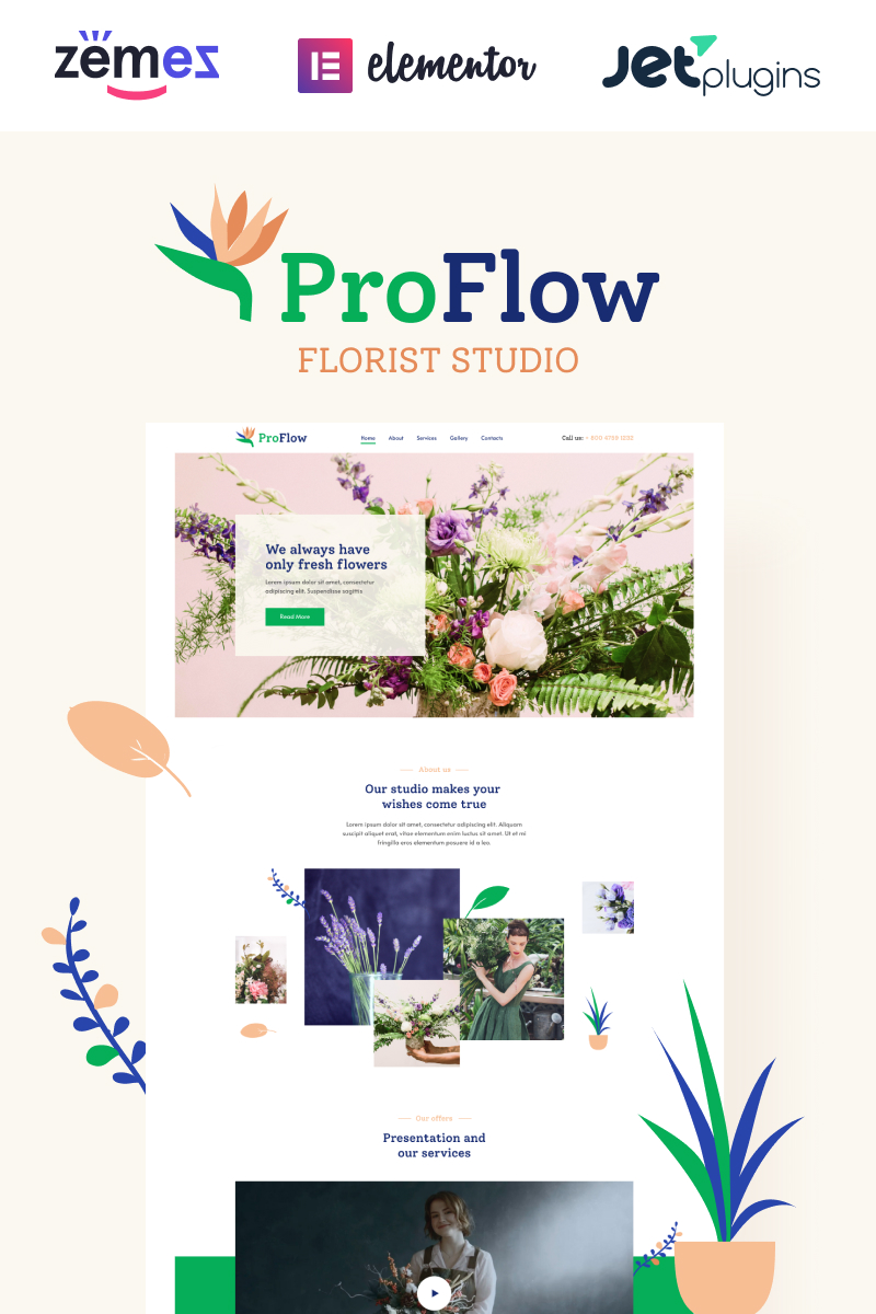ProFlow - Contemporary And Minimalistic Florist WordPress Theme