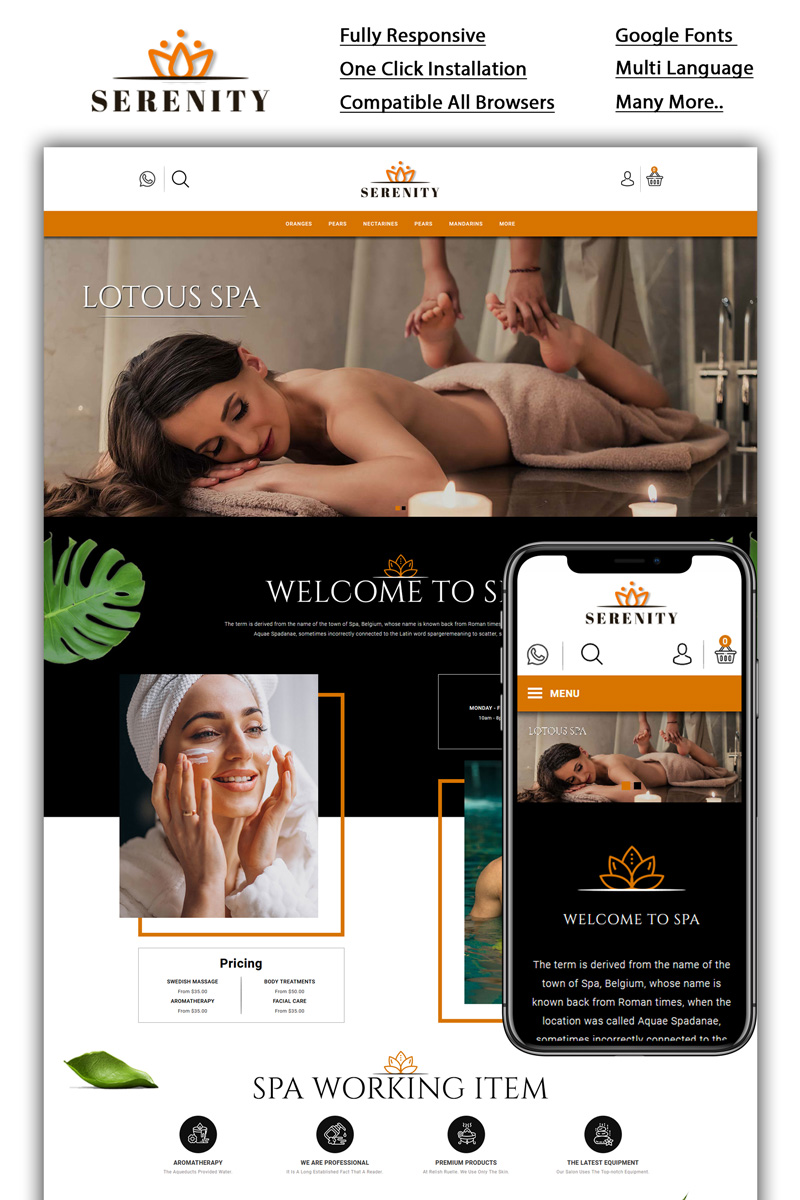 Serenity - Spa Store OpenCart Template