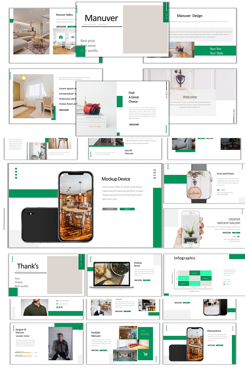 Manuver Green Colour PowerPoint Template
