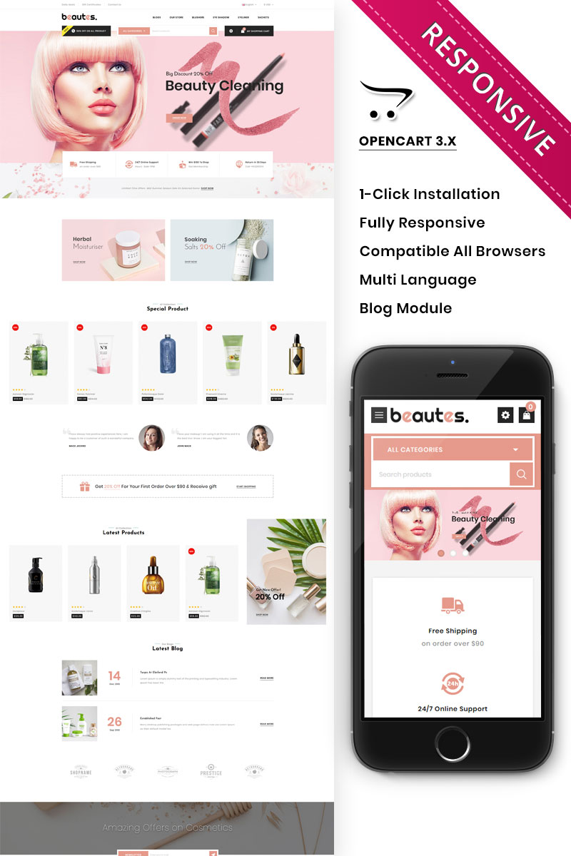 Beautes - The Mega Cosmetic Store OpenCart Template