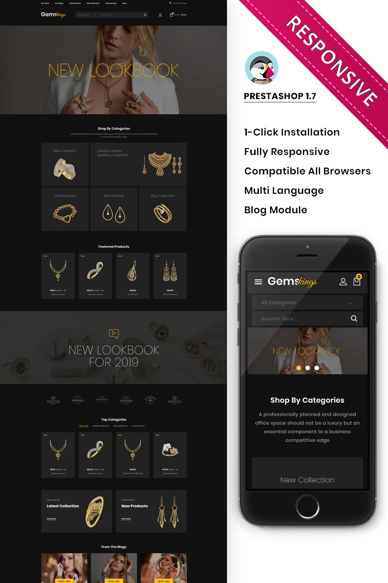 Gemskings - The Jewelry Store PrestaShop Theme
