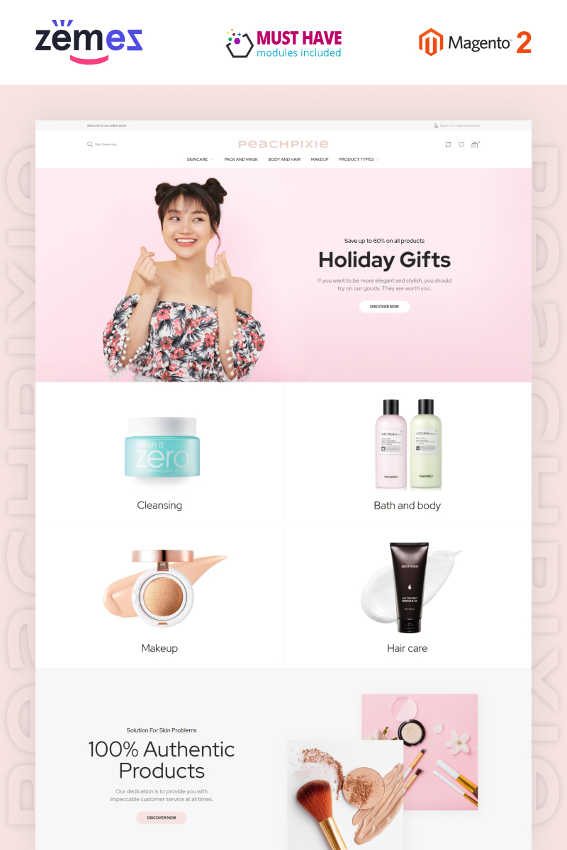 PeachPixie - Korean Cosmetics Website Design Magento Theme