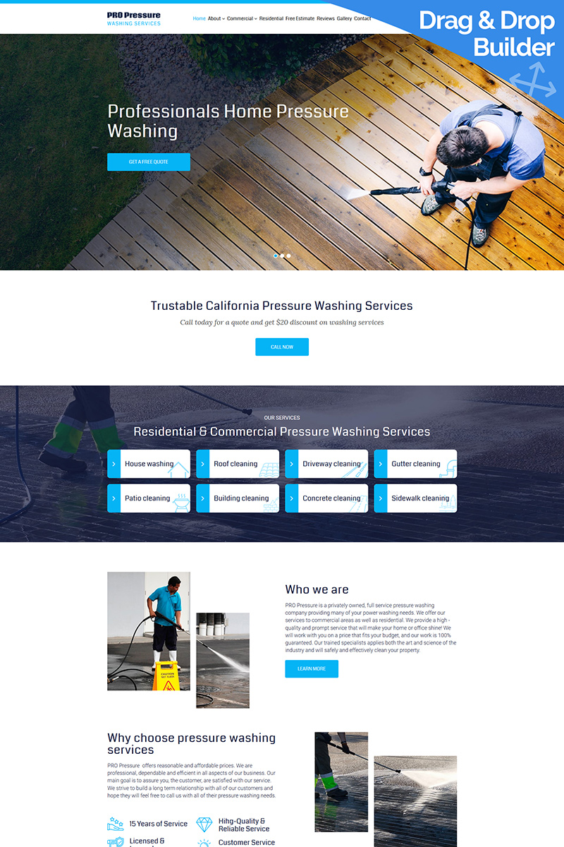 Pro Pressure - Washing Services Moto CMS 3 Template