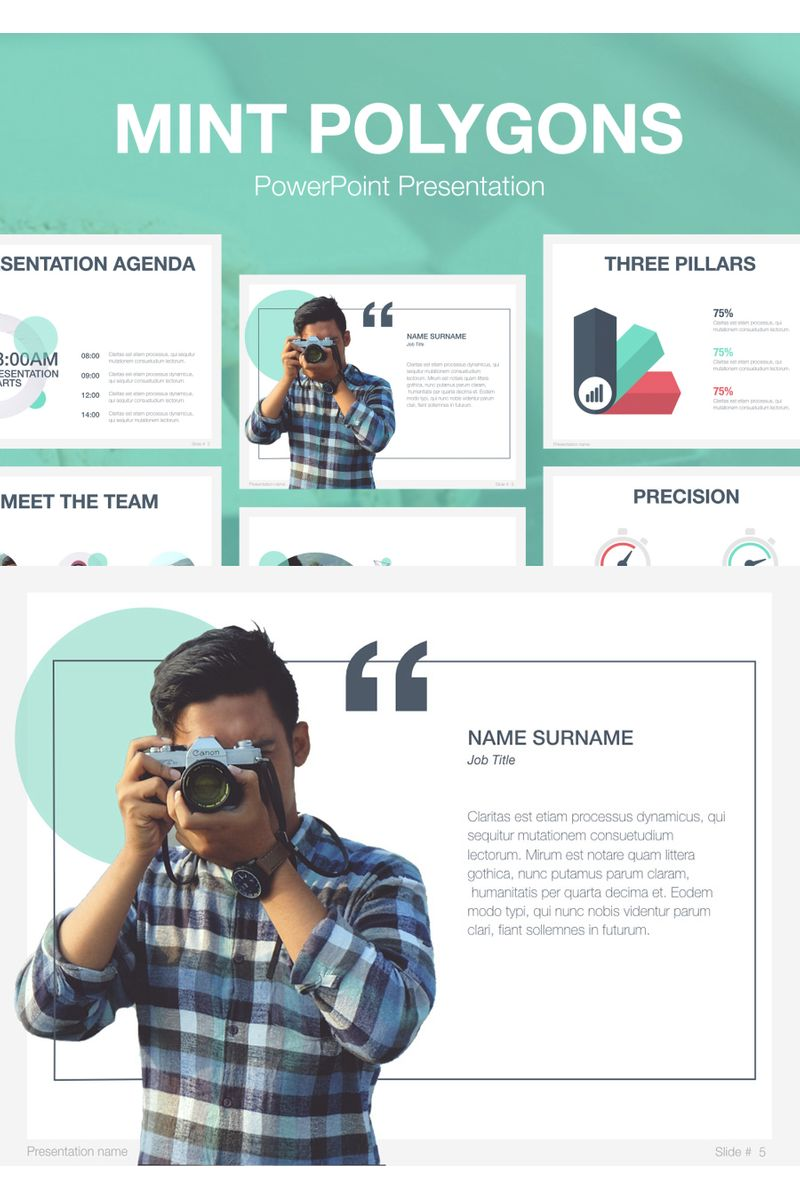 Mint Polygons PowerPoint Template