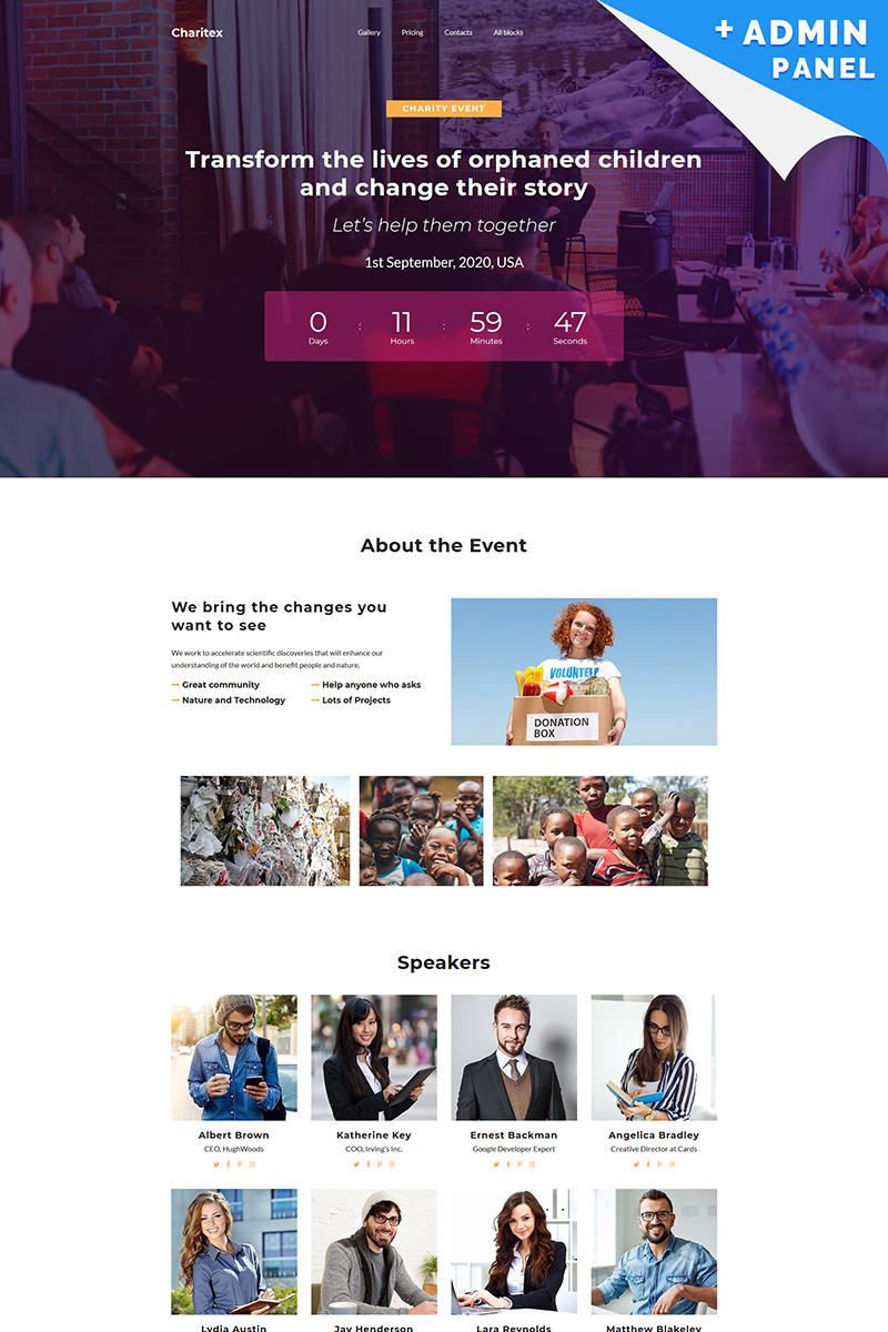 Charitex - Event Planner Landing Page Template