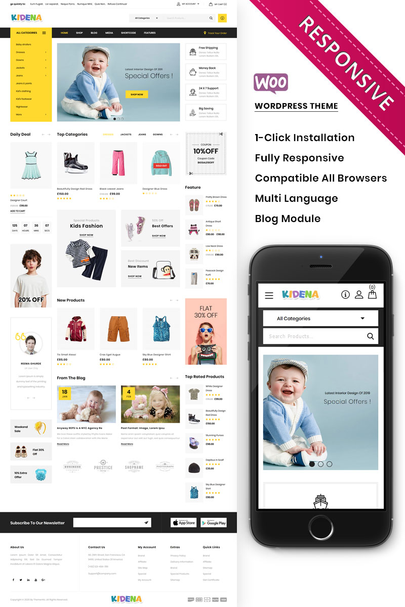 Kidena - The Kids Playstore Responsive WooCommerce Theme