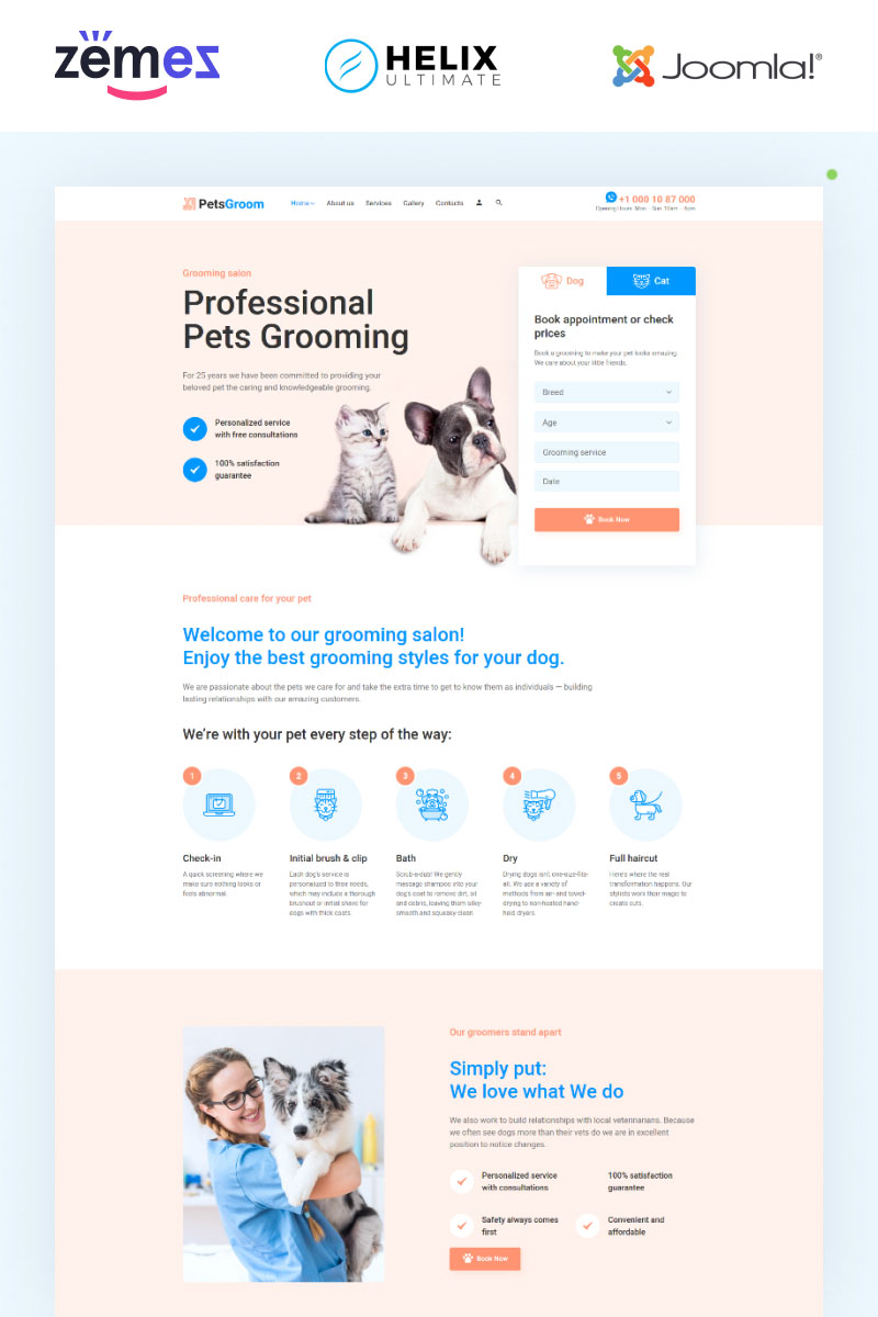 PetsGroom - Animals & Pets Multipage Clean Joomla Template