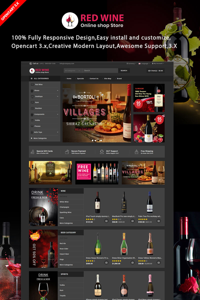 Redwine Responsive OpenCart Template