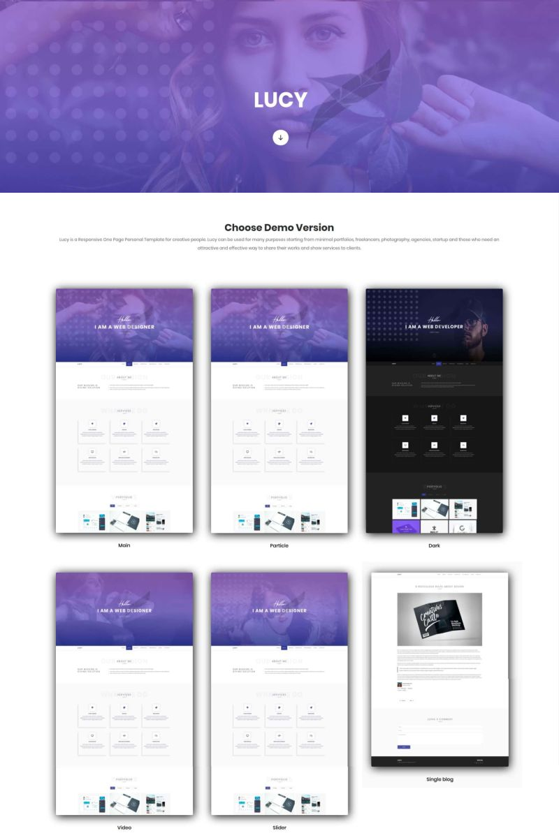 Lucy - Personal Portfolio Landing Page Template