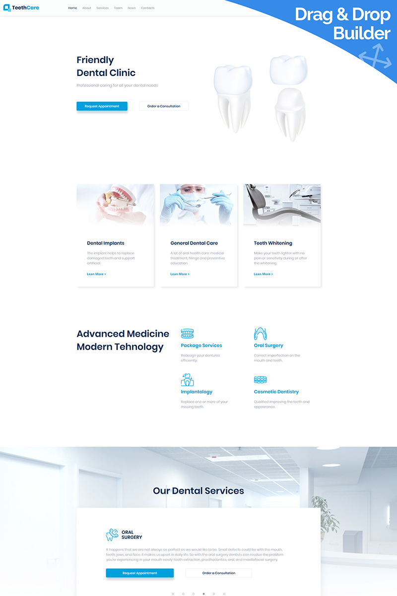 TeethCare - Dentistry Classic Moto CMS 3 Template