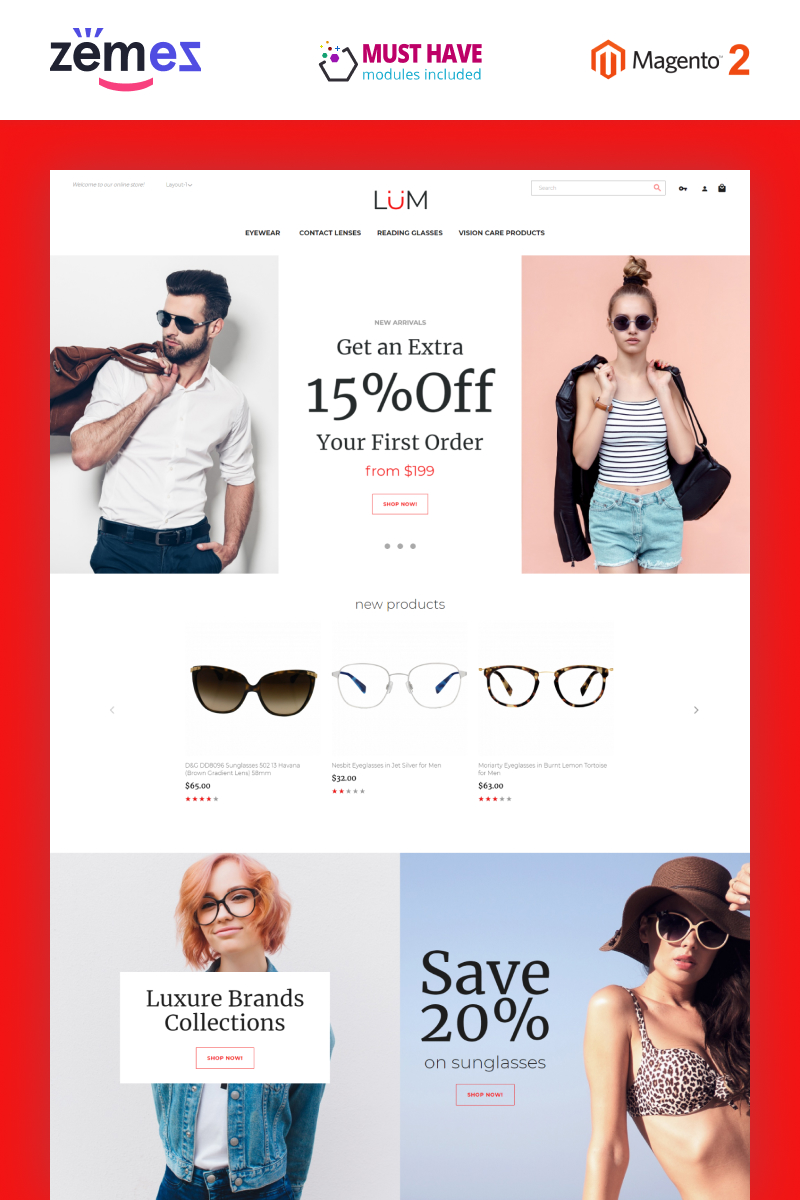 Lum - Optometry Store Template Magento Theme