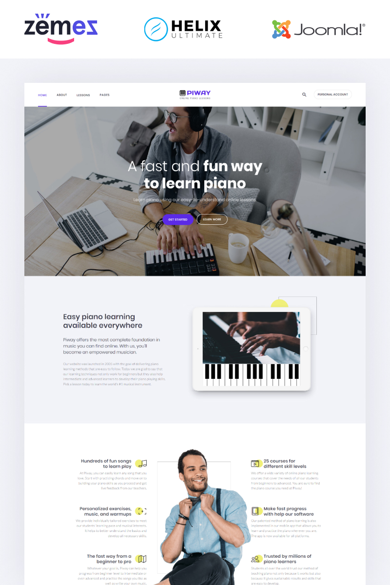 Piway - Music Multipage Creative Joomla Template