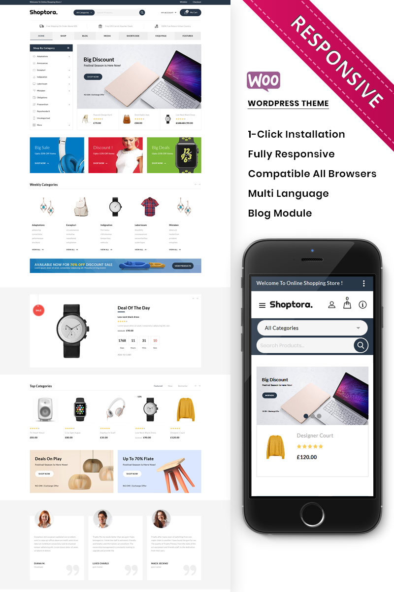Shoptora - The Mega Store Premium WooCommerce Theme