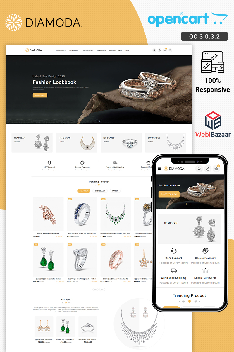 DIAMODA - Jewellery Responsive Store OpenCart Template