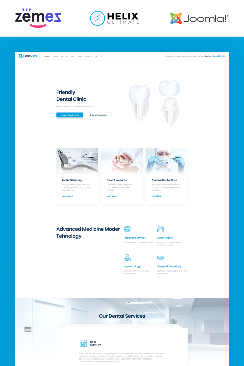 TeethCare - Dental Responsive Clean Joomla Template
