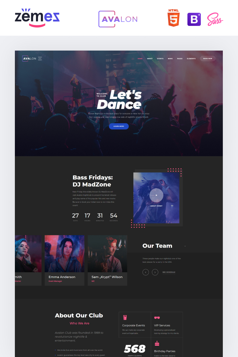 Avalon - Night Club Responsive Website Template