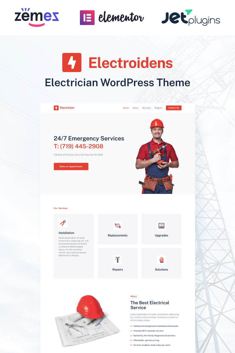 Electroidens - Electrician website with Elementor WordPress Theme