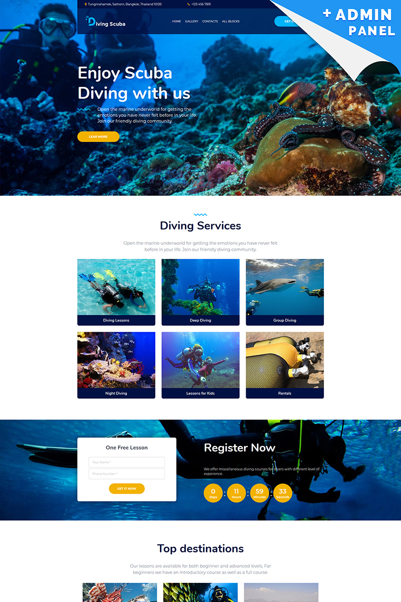 Diving Scuba - Underwater Landing Page Template