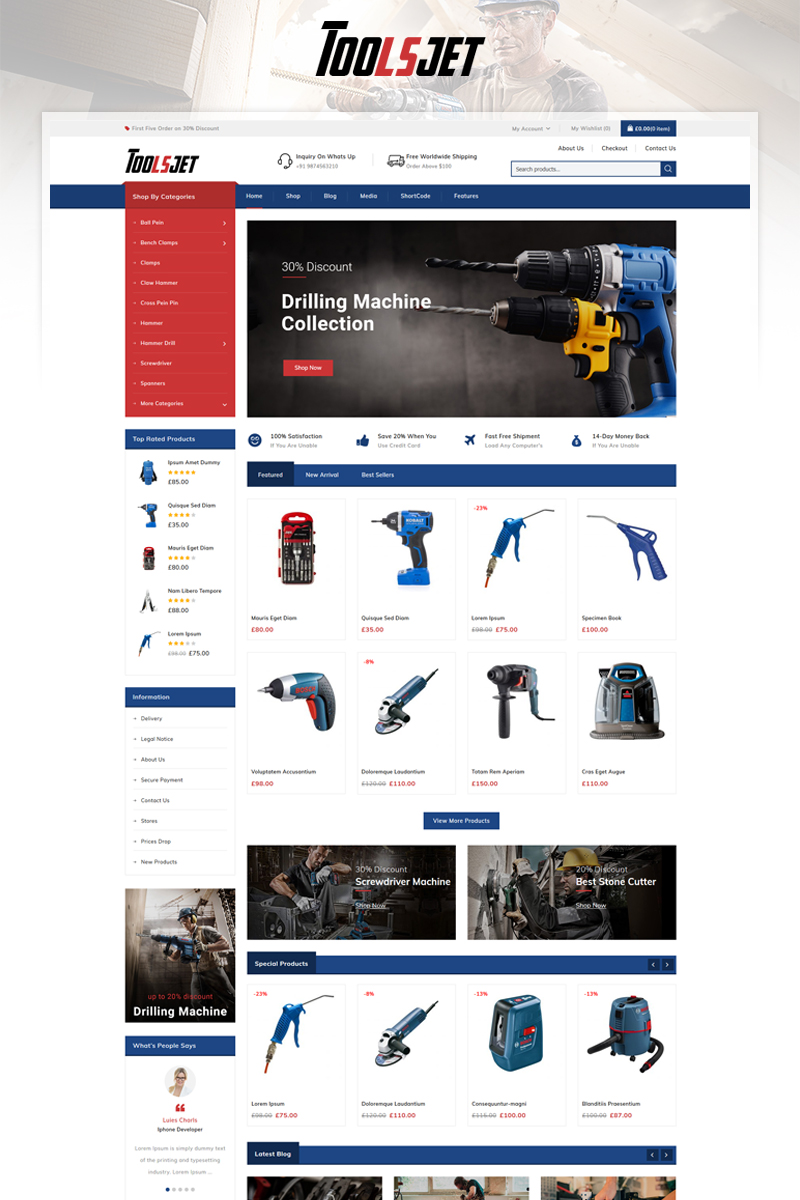 Toolsjet - Hardware Store WooCommerce Theme