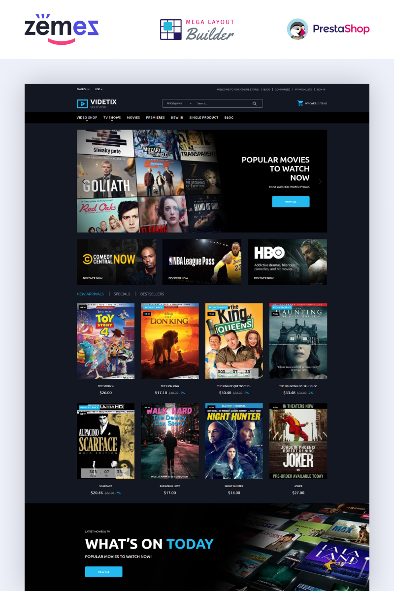 Videtix - Movies Online Store Template PrestaShop Theme