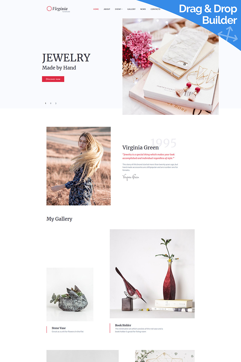 Virginia - Custom Jewelry Moto CMS 3 Template