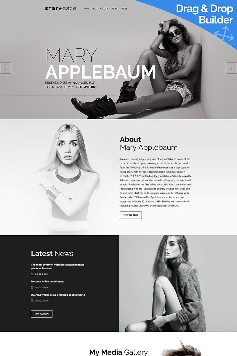 Stargaze - Media & Celebrity Moto CMS 3 Template