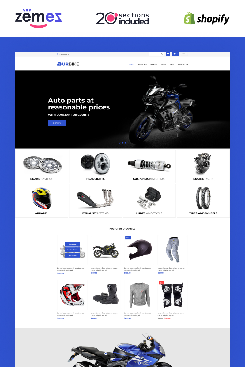 Urbike -  Bikes Online Store Template Shopify Theme