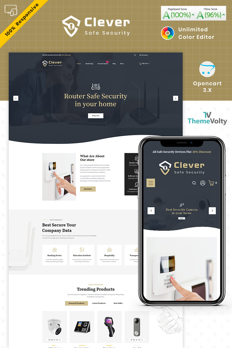 Clever Security Store OpenCart Template