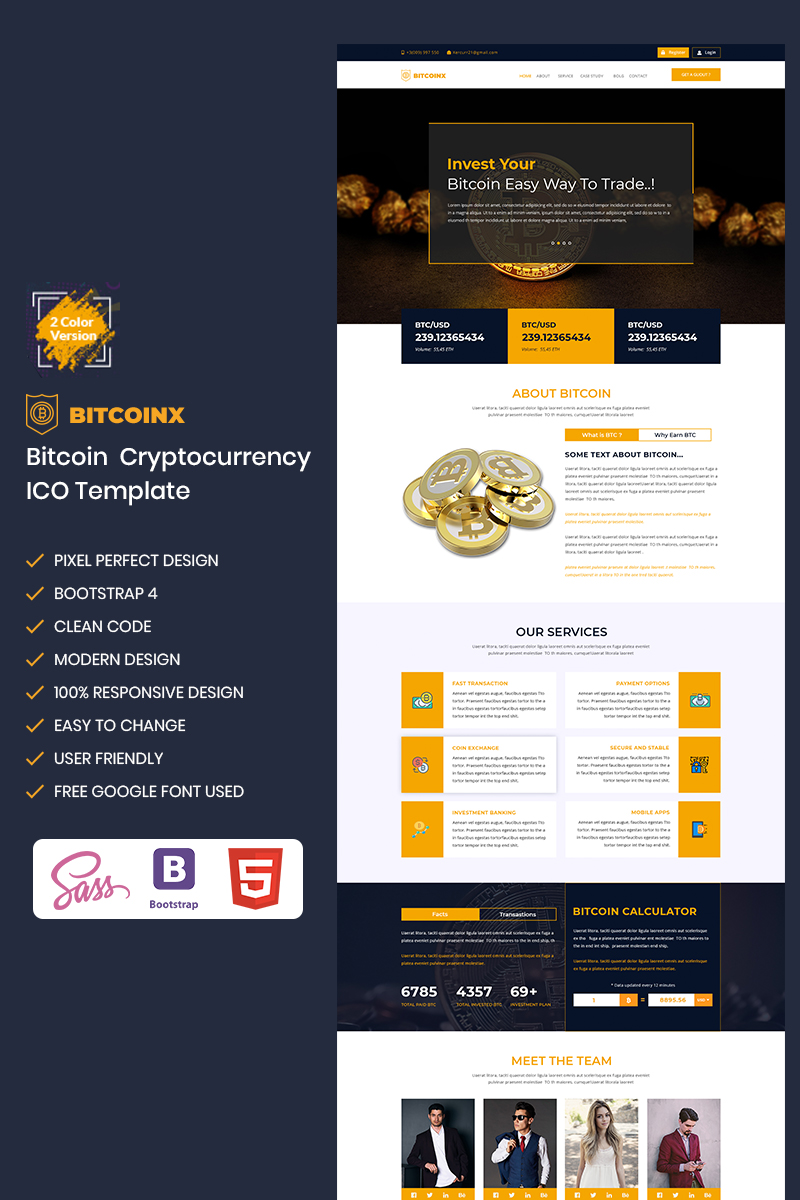 Bitconx-Bitcoin & Cryptocurrency Landing Page Template