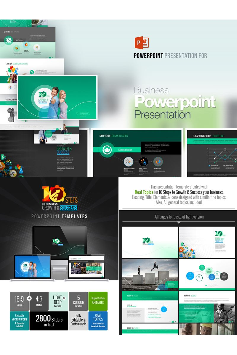 10 Steps to Business PowerPoint Template