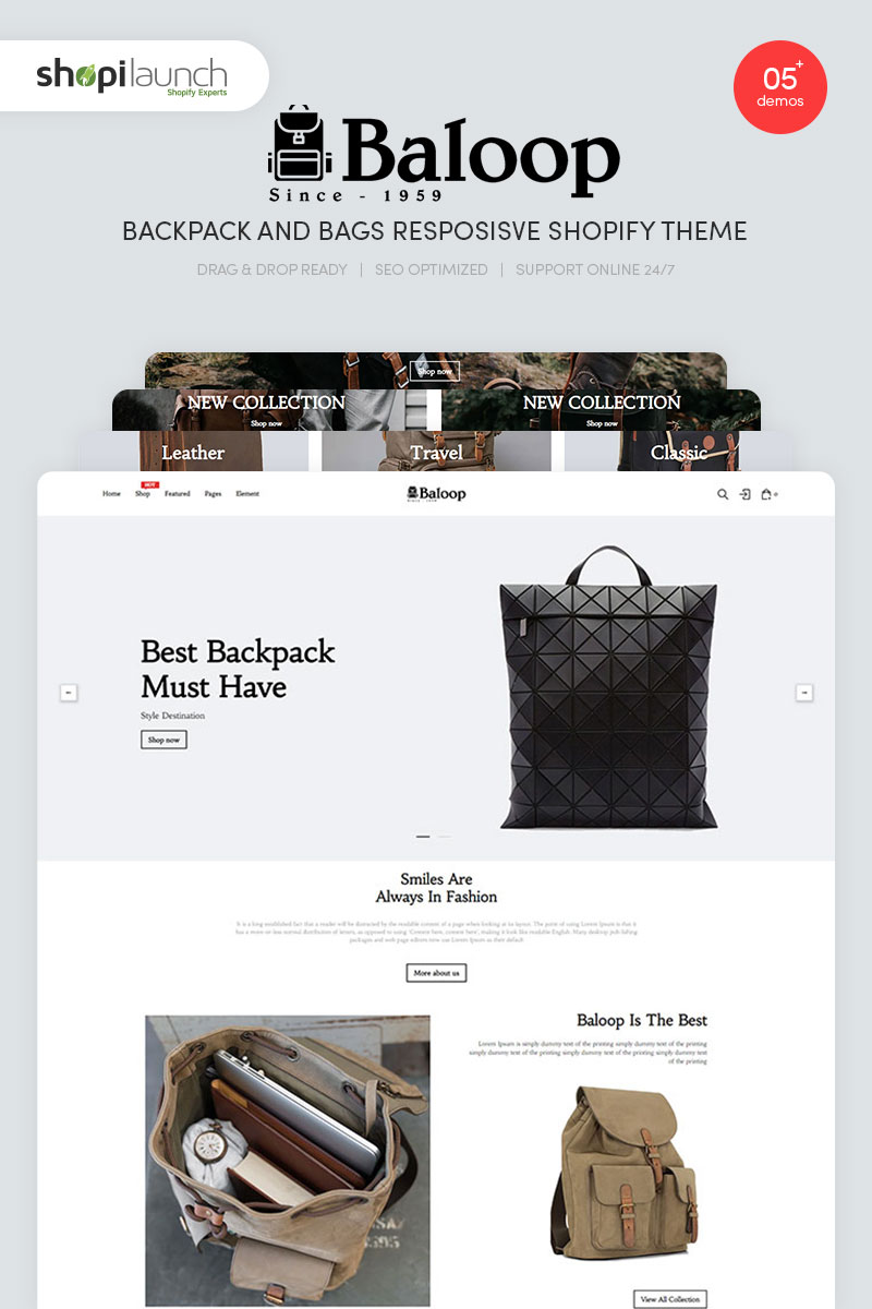 Baloop - Backpack and Bags Responsive Shopify Theme