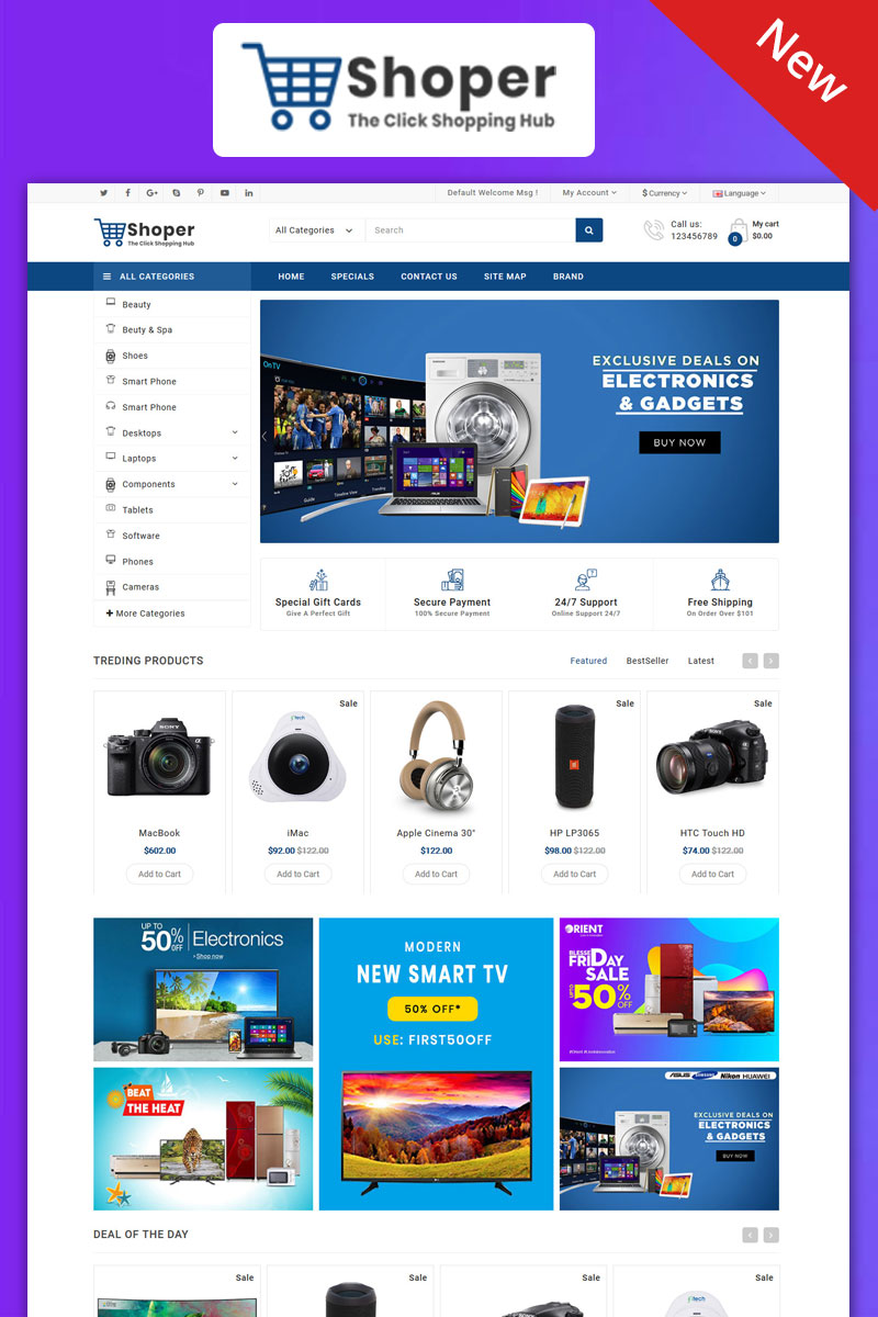 Shopper Electronics Responsive Theme OpenCart Template