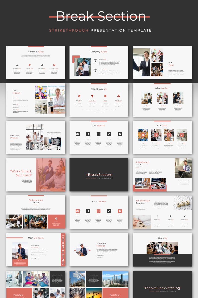 STRIKETHROUGH - Presentation PowerPoint Template